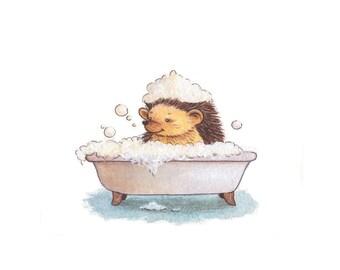 Nursery Art - Hedgehog in a Bath Art Print