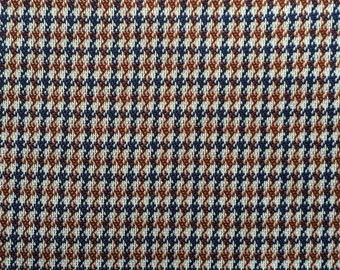 Double Knit Fabric Yardage Brown and Blue Plaid 1.9 Yards