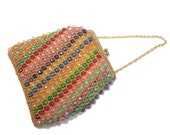 vintage 1960s rainbow bead bag / small purse handbag / multi-color beads / candy jewels / chain strap / 60s purse / women's vintage purse