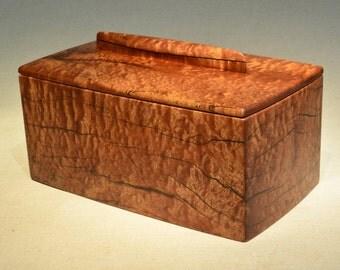 Wooden Keepsake Box, Heavily Checked Pommele Sapele, with Canoe Handles