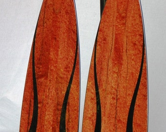 "Wooden Canoe Paddles, Freestyle, ""African Beauty IV"", from Pommele Sapele and Gabon Ebony"
