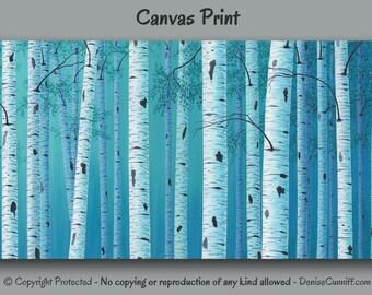 Birch tree wall art, Landscape painting - Canvas art print, Teal blue home decor, Aqua Turquoise, Bedroom decor, Office artwork, Large XL