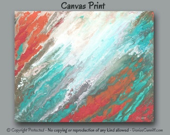 Canvas wall art, Abstract painting - giclee art print, Teal Coral Aqua, Home decor, Beach decor, Seafoam green Gray Salmon, Office artwork
