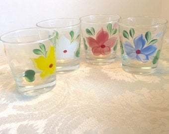 Vintage Floral Gay Fad Scotch Glasses / Hand Painted Flower Glassware