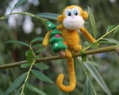 Needle felted monkey - Christmas tree decor - Chinese Zodiac sign - monkey year gift - Christmas gift