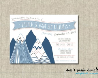 Printable Mountin Baby Shower Invitation - Blue Mountain, Coral and Taupe - Boy, Girl, Gender Neutral Baby Shower Invitation