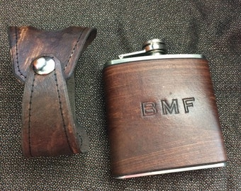 Custom Leather Covered Flask. WITH Holster Holder. You Can Pick Initials. Groomsman Gift