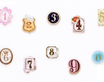 Japan Mindwave Moji Moji pack connection Transparent Bronzing Numbers Vintage Collage Sealing wax Lace icon sticker 1 pack 80 pieces