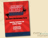 American Ninja Warrior Invitation -- Ninja Birthday Invitation -- Ninja Warrior Birthday Party Invitation printable, personalized