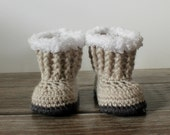 Baby Ugg Style Boots - Grey Baby Boots - Hand Crochet Baby Boots - Baby Girl Boots - Newborn Photo Prop