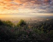 Portland Oregon Print | Sunrise | Skyline | Cityscape | Portland Oregon Photo | Oregon Photography | Warm Colors
