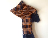 Vintage Blue / Purple and Orange Knit Cozy Scarf Made in Japan