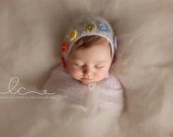 Rainbow Baby Bonnet NB