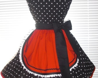 French Maid Apron Black and White Dot with Red Pin-up Retro Style Flirty Skirt Sweetheart Neckline