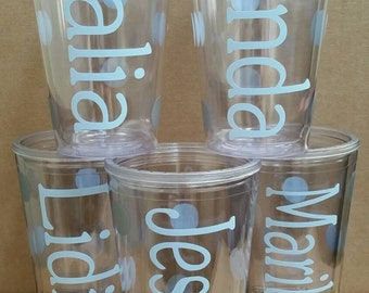 5 Bridal Party Bridesmaid and Bride Personalized Monogrammed Double Walled Insulated Tumblers with straw