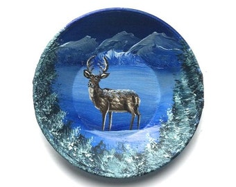 Hand Painted Miniature Miniature Gold (2 3/4 Inch) Pan Magnet Winter Deer