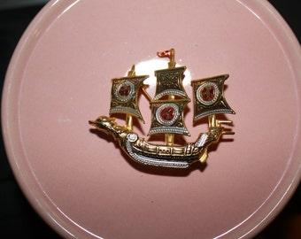 Damascene Galley Ship Pin, Spanish, Vintage