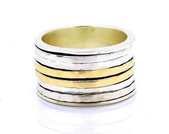 Silver and gold spinner spinner ring, wide and hammered