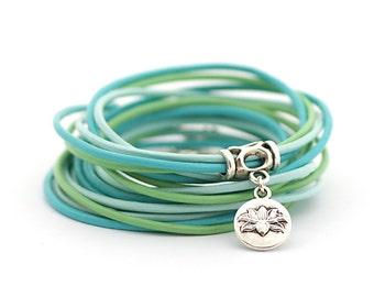 Lotus Charm Bracelet, Bohemian Bracelet, Yoga Bracelet, Peridot Mint Blue Wrap Bracelet, Green Blue Wrap Bracelet, boho chic,