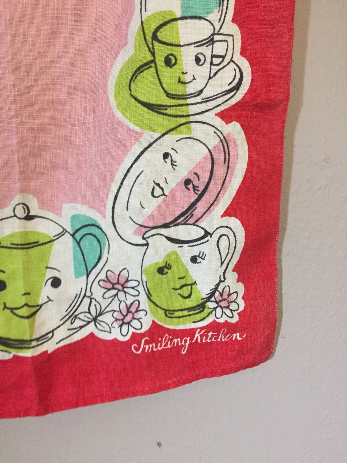 Vintage Kitchen Towel Hand Dish Towels Mid Century by