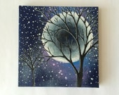 "SALE-4""x4"" Small Painting - Space Painting - Space Art with Tree - Tree Art with Moon and Stars"