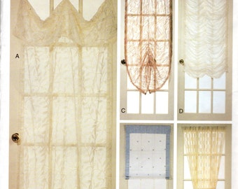 Sheer Door Treatments Pattern - includes pattern for curtains, Roman Shade, valance in 5 variations- Vogue Patterns for Living 7679 uncut
