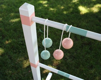 Ladder Ball Game Set, Painted Wedding Color Bolaball wedding game ladderball yard game ladder toss custom painted premium Bola Ball Tote