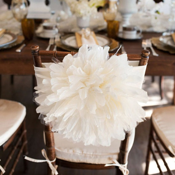 Peony Flower Wedding Chair Cover Chiavari Chair Cover Bride