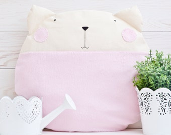 Round Pillow Pink Fluffy Cat Decorative Pillows Pink Cushion Cat Pillow Pink Nursery Decor Housewarming Gifts Pink Cat Cushion