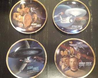 Vintage Star Trek Enesco Todd Treadway Plates Set of Four (4) COA