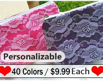 Customize Makeup Bag, Bridesmaids Gift, Bridesmaid, Cosmetic Bag, Bridal Party Gift, Maid of Honor, birthday, Christmas, gift