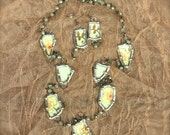 """Vintage Broken China Necklace Earring Set """"Forgiven Jewelry"""" Soldered Silver"""