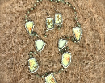 "Vintage Broken China Necklace Earring Set ""Forgiven Jewelry"" Soldered Silver"