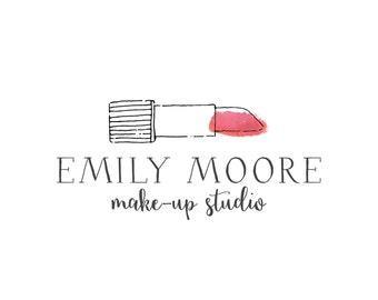 Premade Lipstick Logo Design, Watercolor Makeup logo, Fashion Cosmetics Blog Header Design 185