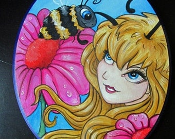 The Bumblebee Fairy big eye ORIGINAL 8x10 acrylic painting on wood plaque ready to hang!!OOAK by Ronne
