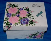 Decorative Painted Wood Wedding Keepsake Box Jewelry Box Makeup Holder Organizer Heirloom Pink Roses 4x6 Victorian Anniversary Gift Box