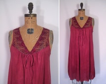 hand dyed vintage vanity fair slip dress - wine • upcycled slip dress • revamped vintage slip