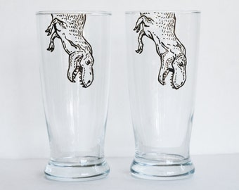 Pair of Hand Painted Animal Pint Glasses - T-Rex