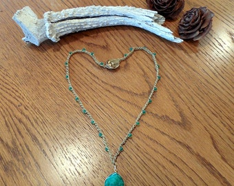 "Ready To Ship Hand Made  19"" Bead Crochet Pendant Necklace"