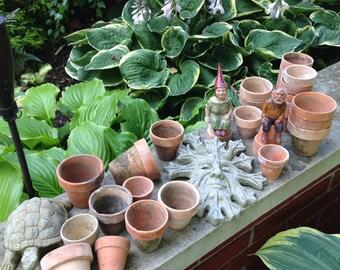 "LOTS O' POTS:  Twelve Smaller 2-1/2"" Vintage Terra Cotta Clay Pots, historical conservatory garden wedding reception decoration"
