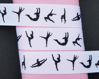 "10Yd Black Gymnastics 7/8"" White Grosgrain Ribbon Craft/Scrapbook"