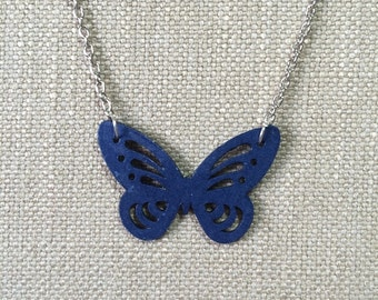 Butterfly pendant made from dark royal blue paper