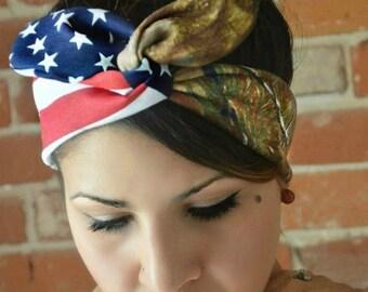 American headband, Real tree, American bow, Hunter headband, Realtree Camo American Dolly bow,Patriotic Flag head band, hair bow