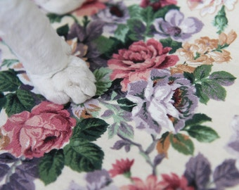 Pink purple rose floral print sleeveless waistcoat vest top XXXL