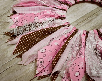 Infant to Child Sizes - Cowgirl Scrap Tutu - Pink - Made to Order - Country Chic Birthday Skirt