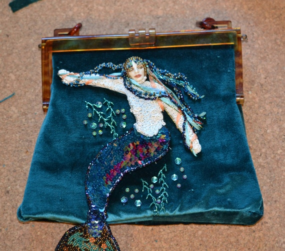 Bead Embroidered Mermaid Purse Bag with genuine Art Deco Celluloid Frame
