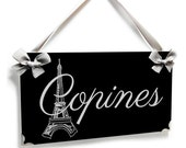 personalized eiffel tower door sign - Copines french bedroom decor - grey white black - P676