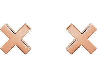 X Gold Stud Earrings, 14K White Gold, 14K Rose Gold, 14K Yellow Gold, Everyday Earrings, XX, XO Shiny Earrings, High Polish, Trendy Earrings