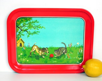 RESERVED Mid century tray, cat and dog playing, red, teal and green, 1950s toy tray