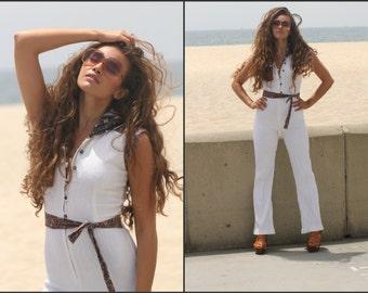Vintage70s Gauzy Jumpsuit Flared pants suit paisley Boho Hippie XS S